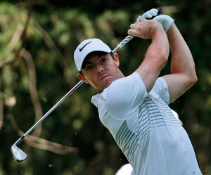 Rory McIlroy  tees off on the 16th hole in round one of the Mexico Championship at Chapultepec Golf Club in Mexico City.  Photo: Rebecca Blackwell