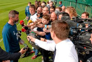 Roy Keane finds himself the centre of attention at the media briefing. Pat Murphy / SPORTSFILE