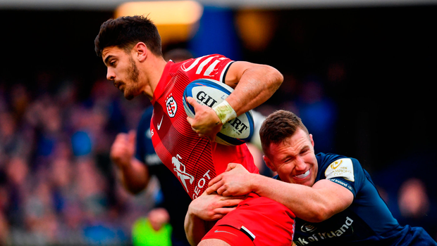 Romain Ntamack of Toulouse is tackled by Rory O'Loughlin of Leinster during the Heineken Champions Cup Pool 1 Round 5 match between Leinster and Toulouse at the RDS Arena in Dublin. Photo by Ramsey Cardy/Sportsfile