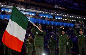 Ireland's flag-bearer Conor Lyne leads his country's contingent during the athletes' parade at the opening ceremony of the 2014 Sochi Winter Olympics