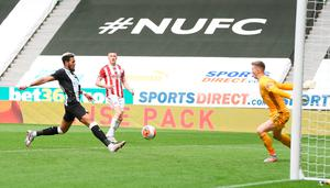 Joelinton scores Newcastle United's third goal of the game at St James' Park Photo: PA