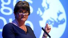 DUP leader Arlene Foster speaks at a Bruges Group event during the Conservative Party annual conference in Manchester, England. Photo: REUTERS/Henry Nicholls