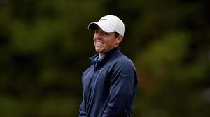 Rory McIlroy reacts after his putt on the 10th green
