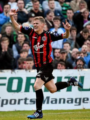 12 June 2015; Derek Prendergast, Bohemians, celebrates after scoring his side's first goal of the game. SSE Airtricity League Premier Division, Bohemians v Shamrock Rovers. Dalymount Park, Dublin. Picture credit: David Maher / SPORTSFILE