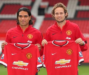 Manchester United new signings Radamel Falcao (left) and Daley Blind during a photocall at Old Trafford