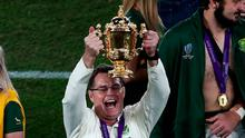 South Africa's head coach Rassie Erasmus holds the Webb Ellis Cup after winning the Japan 2019 Rugby World Cup final match between England and South Africa at the International Stadium Yokohama in Yokohama on November 2, 2019. (Photo by Behrouz MEHRI / AFP) (Photo by BEHROUZ MEHRI/AFP via Getty Images)