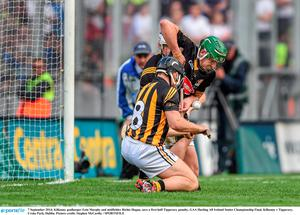 7 September 2014; Kilkenny goalkeeper Eoin Murphy and midfielder Richie Hogan, save a first half Tipperary penalty. GAA Hurling All Ireland Senior Championship Final, Kilkenny v Tipperary. Croke Park, Dublin. Picture credit: Stephen McCarthy / SPORTSFILE