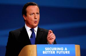 British PM David Cameron during his keynote speech to delegates at the Conservative Party annual  conference in  Birmingham.  PA