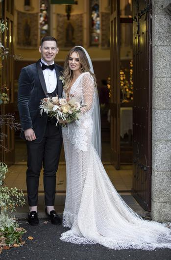 Dublin GAA player Philly McMahon & wife Sarah Lacey, after they got married today in Athy, Co. Kildare. Picture: Fergal Phillips