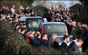 The remains of Lucy Anne Stack arriving at St Ultans Church Rathcore, Enfield, Co Meath Pic Steve Humphreys