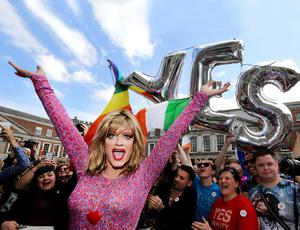 Rory O'Neill aka Panti Bliss, in the upper yard of Dublin Castle to celebrate the Yes vote.  Photo: Gerry Mooney