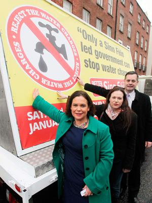 Mary Lou McDonald (left) and Sinn Féin get their message about Irish Water across ahead of the 2016 General Election. Photo: Stephen Collins/Collins Photos