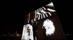 Mapping specialist Paul Boland focuses the projectors in preparation for the Limerick Electronic Arts Festival launch in Arthurs Quay Park, Limerick. Limerick Electronic Arts Festival 2020 will take place in March of next year. Picture: Sean Curtin True Media.