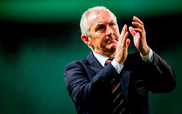 Cork City manager John Caulfield applauds the supporters after their defeat to Legia Warsaw in the UEFA Champions League 1st Qualifying Round. Photo: Lukasz Grochala/Sportsfile