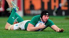 Tommy O'Donnell of Ireland dives over to score his team's second try
