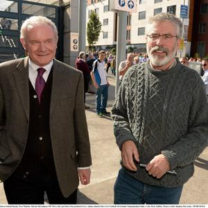 22 September 2013; Northern Ireland Deputy First Minister Martin McGuinness MP MLA, left, and Sinn Féin president Gerry Adams ahead of the GAA Football All-Ireland Championship Finals, Croke Park, Dublin. Picture credit: Stephen McCarthy / SPORTSFILE