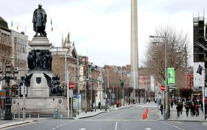 A deserted O'Connell Street at 11.30am yesterday. Photo: Steve Humphreys