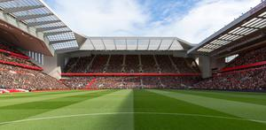 An artist's impression of the redevelopment of the Anfield Road Stand at Anfield, Liverpool. Liverpool have paused the expansion of their Anfield Road stand by 12 months.