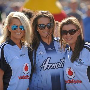 22 September 2013; Dublin supporters, from Castleknock, Co. Dublin, left to right, Clodagh O'Mahony, Leah Hughes, and Fiona Waters ahead of the GAA Football All-Ireland Championship Finals, Croke Park, Dublin. Picture credit: Dire Brennan / SPORTSFILE