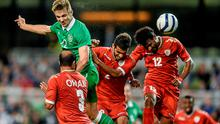 3 September 2014; Kevin Doyle, Republic of Ireland, rises highest to head his side's first goal of the game from a corner kick. Three International Friendly, Republic of Ireland v Oman, Aviva Stadium, Lansdowne Road, Dublin. Picture credit: Matt Browne / SPORTSFILE