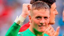 Jordan Pickford: 'I went to punch the floor and ended up punching my knee and hurt my thumb'. Photo: Owen Humphreys/PA