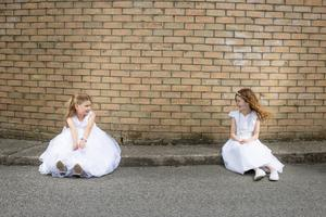 Emma Purcell and Aoife Robertson made their first holy communion virtually in Lusk, Co Dublin, at the weekend. PHOTO: MARK CONDREN