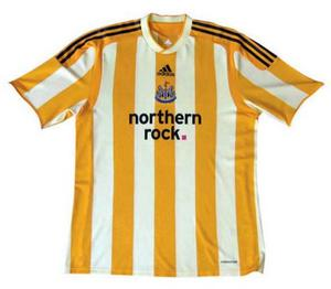 Newcastle Newcastle's away strip was a blooper. With Toon Army fans being ridiculed for their relegation to the Championship shortly before its release, the custard cream design was the last thing they needed