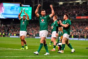 Rob Kearney and co celebrate after beating the All Blacks at the Aviva Stadium. Photo: Charles McQuillan/Getty Images