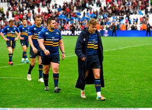 19 April 2015; Leinster's Ian Madigan leaves the field with his team-mates, including Marty Moore and Zane Kirchner, following his side's defeat. European Rugby Champions Cup Semi-Final, RC Toulon v Leinster. Stade V?lodrome, Marseilles, France. Picture credit: Stephen McCarthy / SPORTSFILE