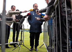 The press pack look for Martin O'Neill's views in Malahide in 2015. Photo: David Maher / Sportsfile