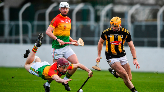 Billy Ryan of Kilkenny in action against Alan Corcoran of Carlow. Photo by David Fitzgerald/Sportsfile