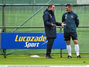 11 November 2014; Republic of Ireland manager Martin O'Neill with assistant manager Roy Keane, during squad training ahead of their UEFA EURO 2016 Championship Qualifer, Group D, match against Scotland on Friday. Republic of Ireland Squad Training, Gannon Park, Malahide, Co. Dublin. Picture credit: David Maher / SPORTSFILE