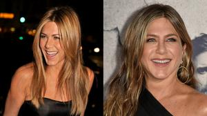 Jennifer Aniston in 2008, and last week at a premiere in LA. Images: Getty