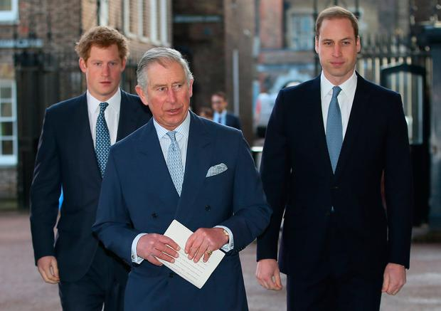 File photo dated 13/02/14 of the Prince of Wales with his sons, the Duke of Cambridge (right) and the Duke of Sussex