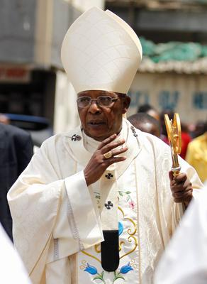 Cardinal John Njue arrives for a special Easter mass at the Holy Family Basilica Catholic Church for the victims of the Garissa University attack in Kenya's capital Nairobi April 5, 2015. REUTERS/Thomas Mukoya
