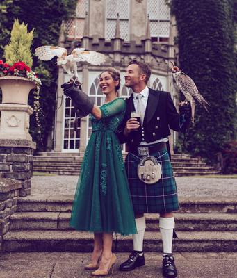Aissa wore an emerald green dress for the couple's rehearsal dinner in Luttrellstown Castle, while groom Kevin opted for a traditional kilt