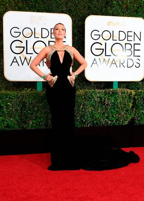 Actress Blake Lively arrives at the 74th annual Golden Globe Awards