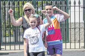 Fiona Lelas with her children Erika (9) and Frankie (13)