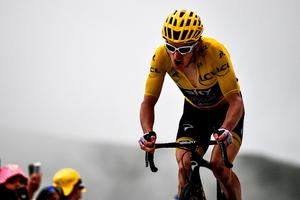 MAIN MAN: Geraint Thomas crosses the finish line in third place of yesterday's 17th stage of the Tour de France. Pic: Getty Images
