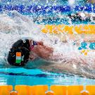 Ireland's Shane Ryan on his way to taking bronze in the Men's 50metre Backstroke final at the European Short Course Championships in Glasgow. Photo: Joseph Kleindl/Sportsfile