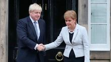 Meeting: Scotland's First Minister Nicola Sturgeon welcomes UK Prime Minister Boris Johnson in Edinburgh. Photo: PA Wire