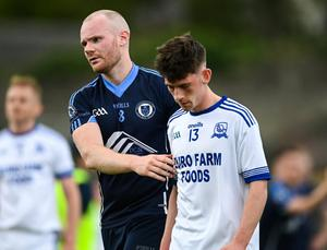Sean Tobin of Simonstown Gaels commiserates Niall Finnerty of Skryne after their Meath SFC clash on Sunday. Photo: Sportsfile