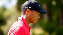 Tiger Woods of the United States walks off the 5th tee during the final round of The 143rd Open Championship at Royal Liverpool