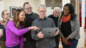 Apple boss Tim Cook with the WarDucks team in Dublin