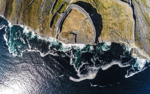 Dun Aonghasa, Inis Mor: The photograph was taken by Raymond Fogarty of AirCam Ireland using a drone. Fogarty's Wild Atlantic Way journey was supported by Fáilte Ireland.