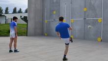 Ronan Carroll aims for the top right hand corner in the new kicking practice wall at Ardee St. Mary's GFC