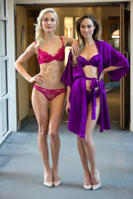 Teo Sutra wearing L'Agent Provacateur Bra, Brief & Daniella Moyles wearing Stella McCartney Lingerie Clara Whispering Bra, Brief,Stella McCartney Lingerie Clara Whispering Robe as part of a showcase of Valentines Day Lingerie looks from the Lingerie Rooms at Brown Thomas.