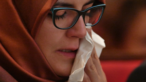 Hatice Cengiz, the fiancee of the killed journalist Jamal Khashoggi (John Stillwell/PA)