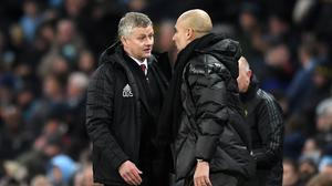 Manchester United manager Ole Gunnar Solskjaer and Manchester City manager Pep Guardiola. Photo: Getty