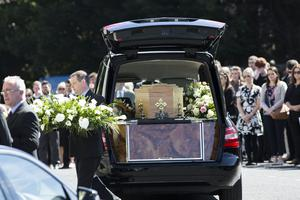 The remains of Eimear Walsh are brought to the Church of Our Lady of Perpetual Succour, Foxrock. Photo: Mark Condren